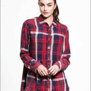 FREE PEOPLE easy street navy flannel